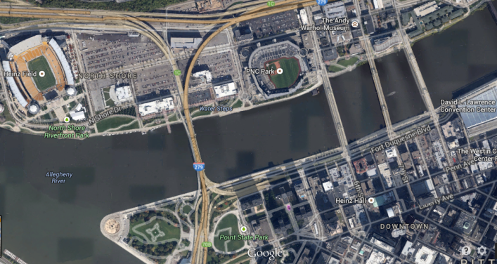 Downtown and North Shore, Pittsburgh (Google Maps)