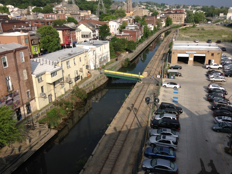 Manayunk and the Schuylkill Canal as viewed from the bridge.