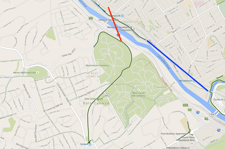 South of River: Lower Marion Twp., North of River: Manayunk, Red Line: Manayunk Bridge, Blue Line: Gap in Schuylkill River Trail