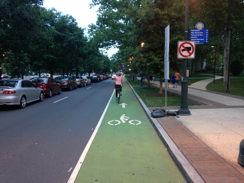 Green bike lane on Ben Franklin Boulevard