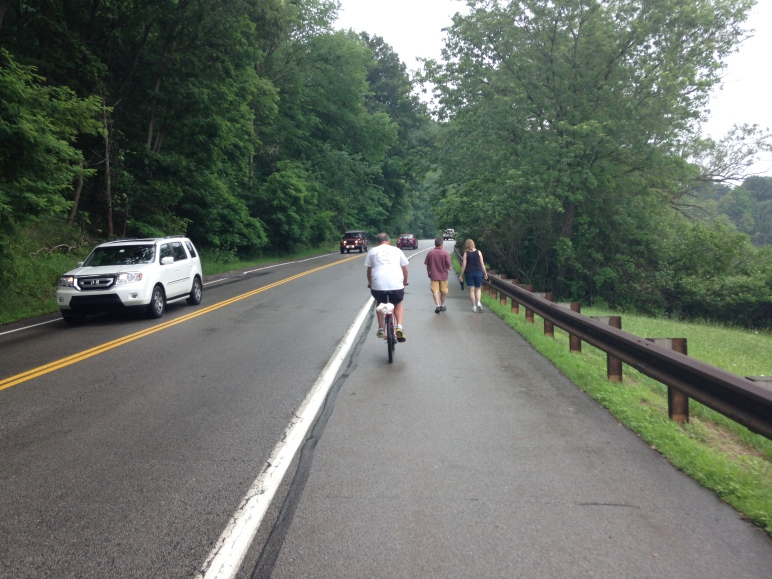 Pierce Mill Road, where people willingly walk, run, and bike in the shoulder.  Ingomar Road was identically configured until this year.